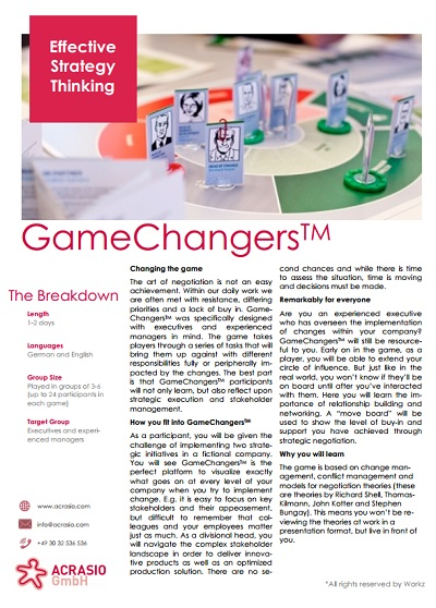 Gamechangers Infoanforderung